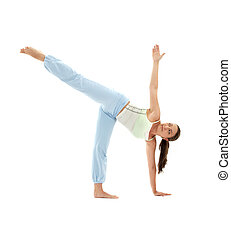 ardha chandrasana half moon pose - sporty girl practicing...