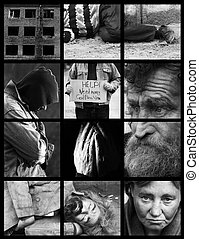 homeless - special black and white photo fx and dark grid,...