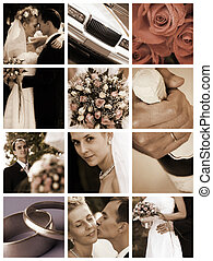 wedding day - special sepia photo toned fx and white grid,...