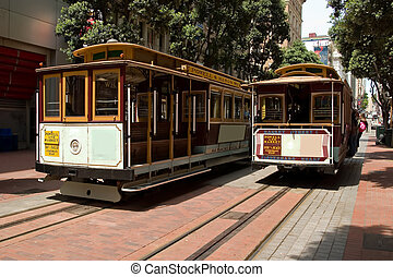 Two Cable Cars - San Francisco Famous transportation