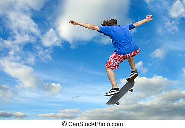 Skater high jump - Teenager skater high jump against clear...