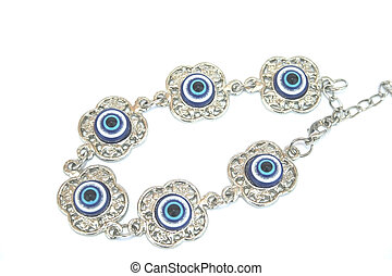 Bracelet - Metallic bracelet with blue eyes.