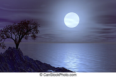 luna - water landscape with tree at night - 3d illustration