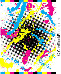 Abstract grunge background using CMYK colours