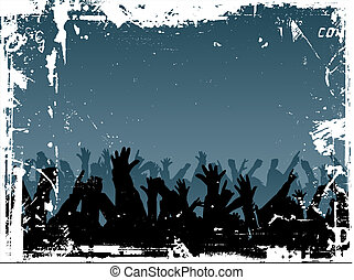 Grunge crowd - Grunge style image of an audience with their...