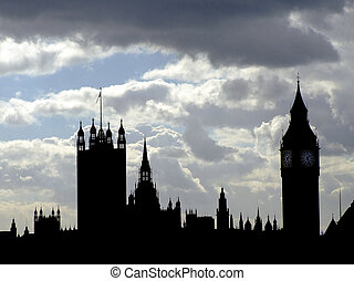 British Parliament - Silhouette of houses of Parliament in...