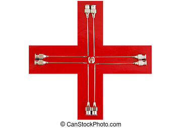 Red Cross with needles - a red cross with iron syringe...