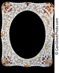 Seashells photo frame - photo frame with seashells isolated...