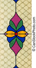 Stained glass window with multi colored symmetrical pattern...