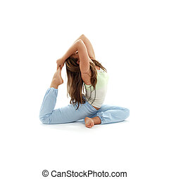 ashtanga yoga 2 - lovely girl practicing ashtanga yoga over...