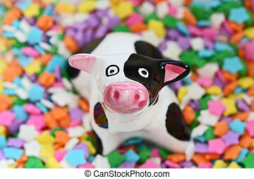 Moo cow - Ceramic cow candy dish made in Gruyere,...
