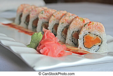 Sweet potato sushi - Sushi with tempura sweet potato,...