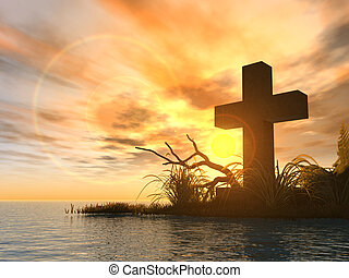holy cross in the sunset - 3d illustration