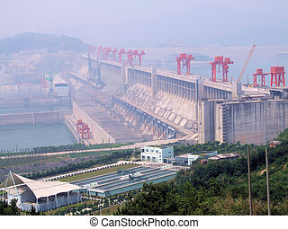 The Three Gorges Dam. - The dam with the information area in...