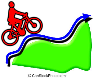 uphill cyclist - Cyclist cycling uphill an arrow traces the...