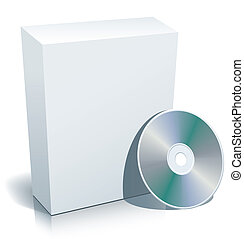Blank box and disc - Blank 3d box with compact disc ready to...