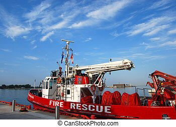 Fire and Rescue - EMS boat moored at harbour