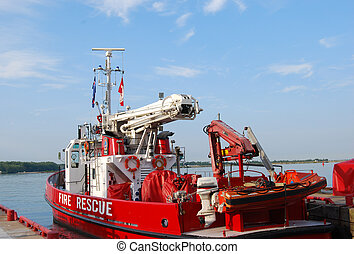 EMS boat moored in harbour