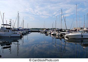 Marina - sky reflected in water at marina