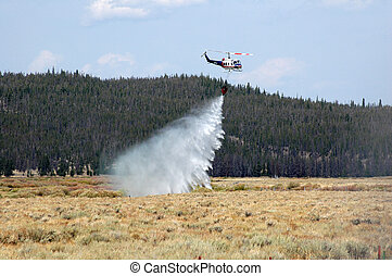 Forest Fire Helicopter - A helicopter attempting to dump...