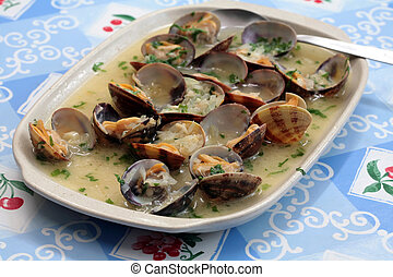 Seafood clam - a platter with fresh clam with onions and...