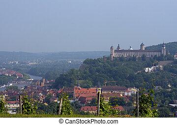 Wuerzburg - view at Wuerzburg, Franconia, Germany;...