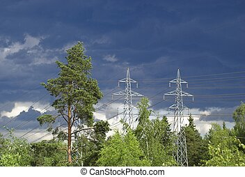 Power Lines on Stormy Sky