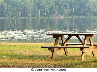 Lakeside Picnic - A photo of a picnic table by a lake