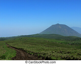 path to vulcano - dirt path in the field with a vulcano in...