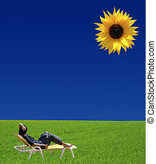 Sunbathing - Conceptual image offering vivid contrast and...