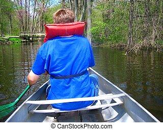 Paddling a Canoe - Paddling a canoe on a lake