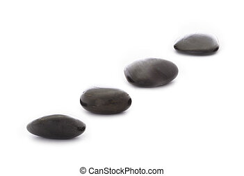 Stepping Stones - four black stepping stones on white...