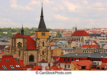 Prague Rooftops, looking from Charles Bridge Tower, Czech...