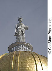 State Capitol, Montpelier Vermont - Statue on the gold...