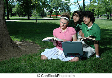Three Studying - A group of friends outside studying for...