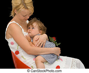 Mother and child - Mother comforting her daughter - concept...