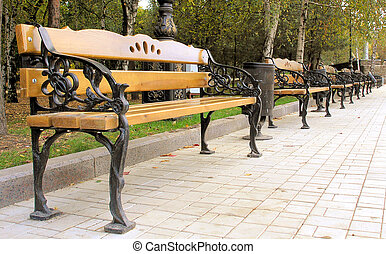 Benches in the park - A few the benchs on an avenue in a...