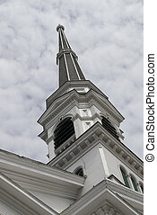 Church Spire, Montpelier, Vermont - A typical New England...