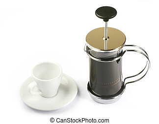 french press-coffee with cup - french press coffee with cup...