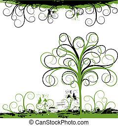 Grunge tree background, vector - Grunge tree background,...