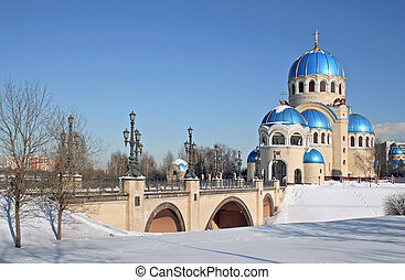 russian whitsunday temple in moscow city