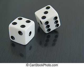 Lucky 7 - two 2 white dice on black reflective background -...