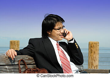 Businessman on the phone - A businessman talking on the...