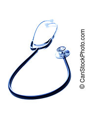 Stethoscope - A shot of stethoscope in blue tone over white