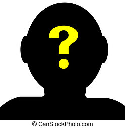 Baffled - silhouette of human head with a question mark in...