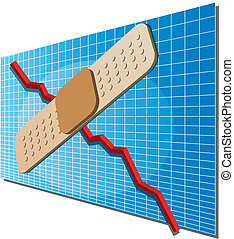 Finance chart with bandaid - A downwards financial business...