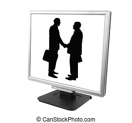 e-partnership - isolated pc screen with businessman made...