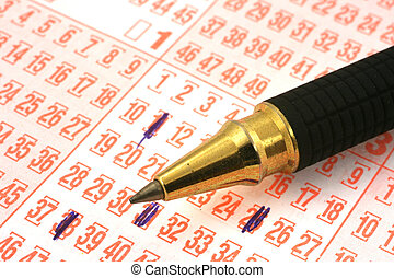 loto, billet, stylo