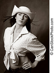 Beautiful brunette in hat - Portrait of the beautiful...