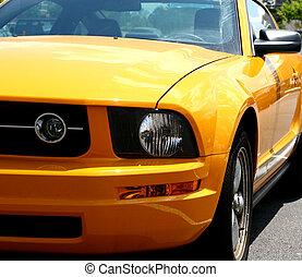 Orange Sports Car - A closeup of a bright orange sports car